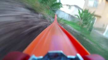Video Camera On Hot Wheels Toy Car Riding Down Track