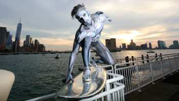 Silver Surfer Riding Through New York City
