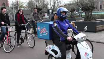 Netherlands Domino's Pizza Electric Delivery Scooter Has Domino's Themed Engine Sounds