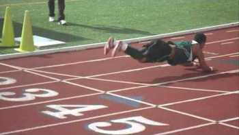 Track Runner Falls, Turn Fail Into Worm Dance