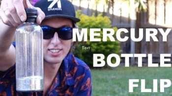 A Bottle Flip With Liquid Mercury In It