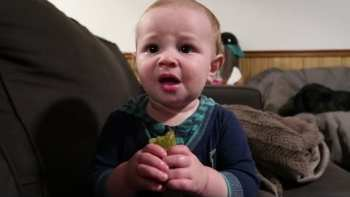Baby Tries Pickle First Time, Doesn't Like It But Can't Stop Eating