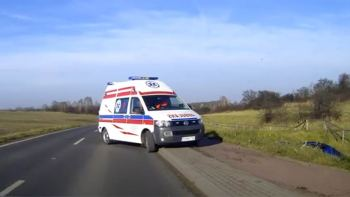Idiot Driver Has Luck As Ambulance Is There When He Crashes