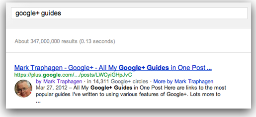 Google Author Rich Snippet Search Result