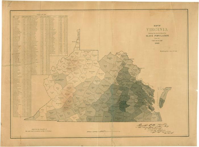 Education from LVA Map of slave population in Virginia