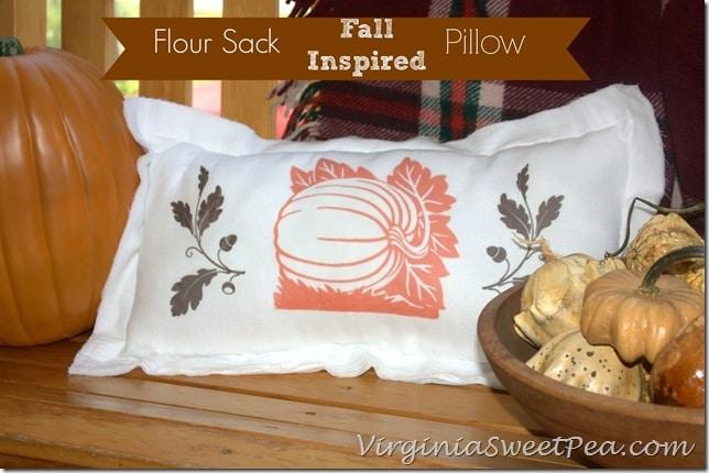 Flour Sack Fall Inspired Pillow by virginiasweetpea.com