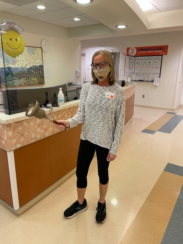 Ringing the Bell to Celebrate the End of Radiation Treatment