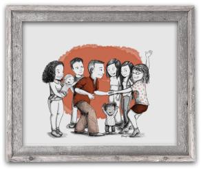 Portrait dessin famille cadre cadeau mariage