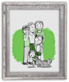 Portrait dessin famille cadre cadeau fête des pères