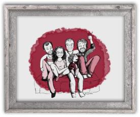 Portrait dessin cadre cadeau départ amis