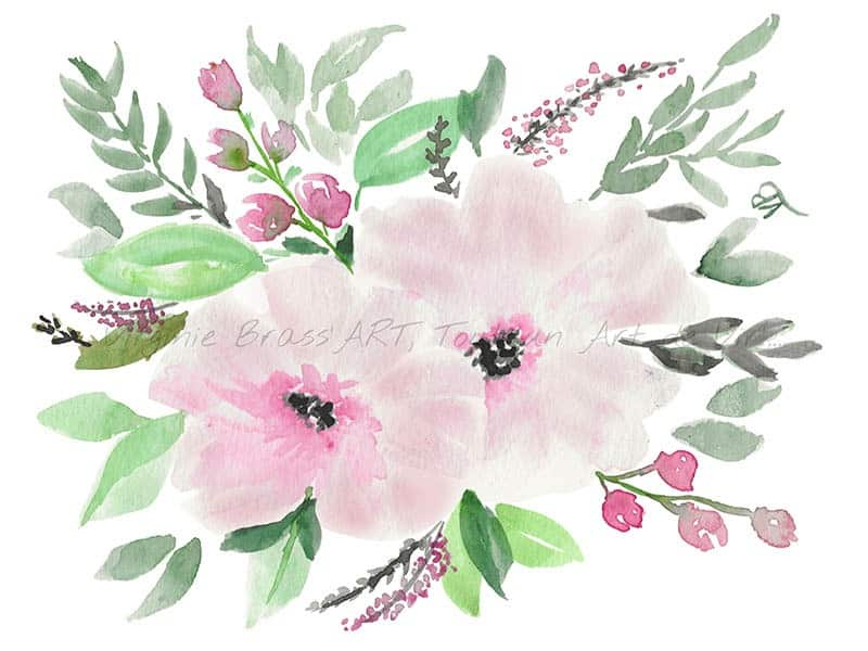 Peinture à l'aquarelle d'un bouquet floral réalisé par Virginie Brassart