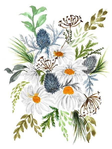 Peinture à l'aquarelle d'un bouquet floral de marguerites et chardons bleusréalisé par l'artiste peintre Virginie Brassart