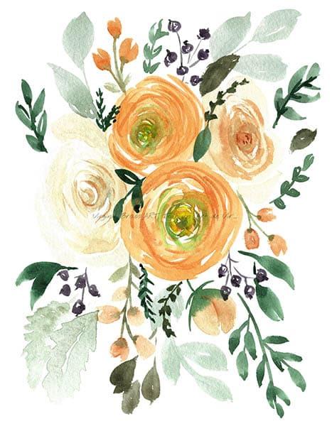 Peinture à l'aquarelle d'un bouquet floral de renoncules oranges réalisé par l'artiste peintre Virginie Brassart