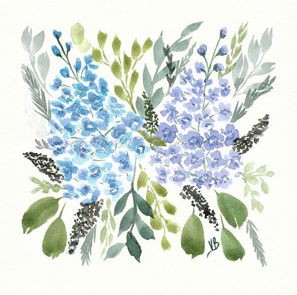 Peinture à l'aquarelle d'un bouquet floral delphiniums bleus et feuillage réalisé par l'artiste peintre Virginie Brassart