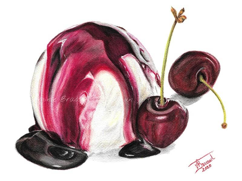 Peinture réaliste à l'aquarelle d'une boule de glace vanille avec nappage à la cerise et deux cerises entières à côté, réalisé par l'artiste peintre Virginie Brassart