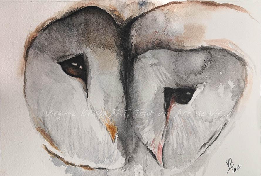 Peinture à l'aquarelle d'un couple de chouettes effraies mélancoliques en gros plan réalisé par l'artiste peintre Virginie Brassart