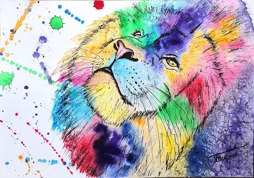 Peinture moderne à l'aquarelle et feutres liners d'une tête de lion multicolore avec projections de peinture, réalisé par l'artiste peintre Virginie Brassart