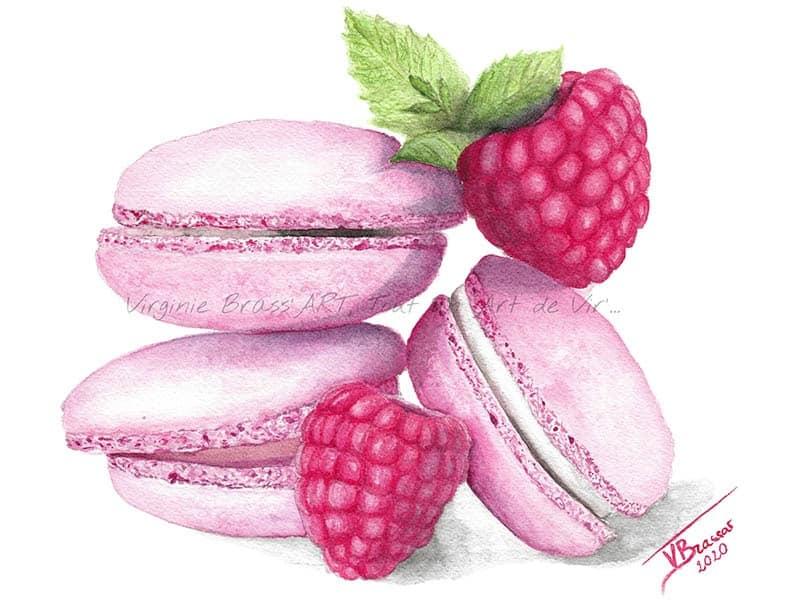 Peinture réaliste à l'aquarelle de trois macarons roses à la framboise, avec deux framboises et feuilles de menthe en décoration, réalisé par l'artiste peintre Virginie Brassart