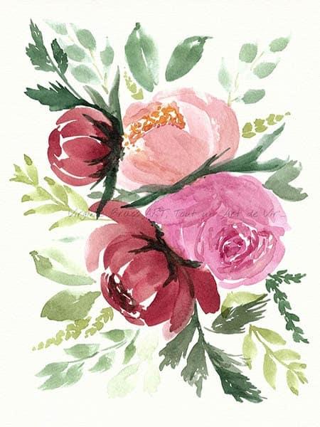 Peinture à l'aquarelle d'un bouquet floral de pivoines roses réalisé par l'artiste peintre Virginie Brassart