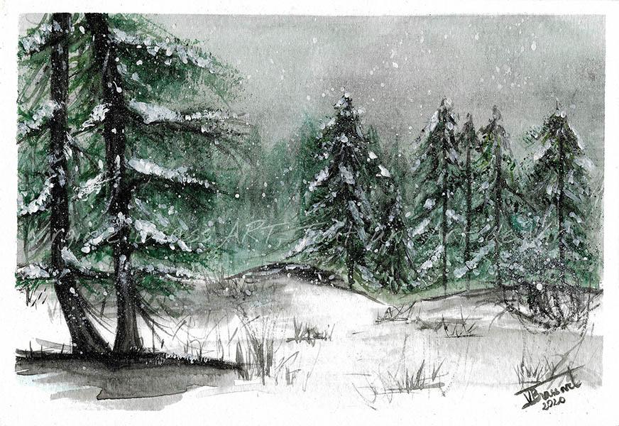Peinture à l'aquarelle d'un paysage hivernal de sapins enneigés sous un ciel gris et neige qui tombe réalisé par l'artiste peintre Virginie Brassart