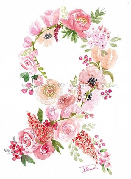Peinture à l'aquarelle d'un ensemble de fleurs roses en forme de ruban réalisé par l'artiste peintre Virginie Brassart pour Octobre Rose