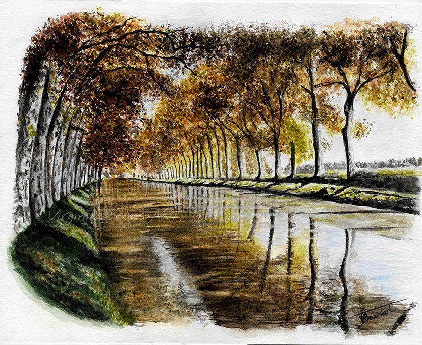 Peinture à l'aquarelle d'une vue du canal du Midi à Béziers, feuillage et couleurs automnales réalisé par l'artiste peintre Virginie Brassart
