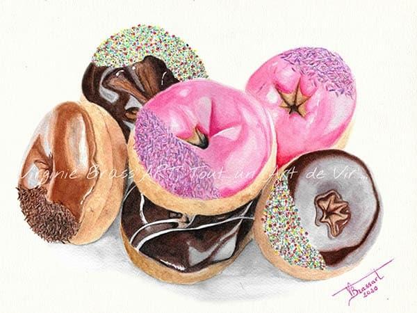 Peinture réaliste de donuts à l'aquarelle réalisés par l'artiste peintre et portraitiste animalière Virginie Brassart
