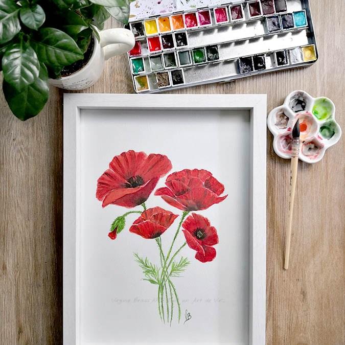Démonstration de peinture d'un bouquet de coquelicots à l'aquarelle
