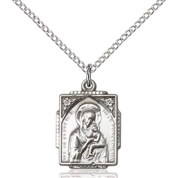 Necklace Medal of Our Mother of Perpetual Help in Sterling