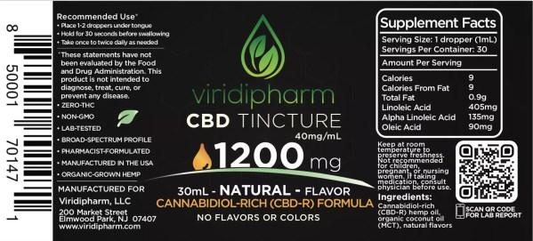1200mg CBD Oil Tincture Natural Flavor