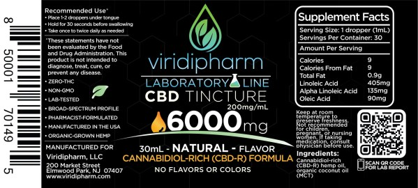 Natural Flavor CBD Tincture 6000mg