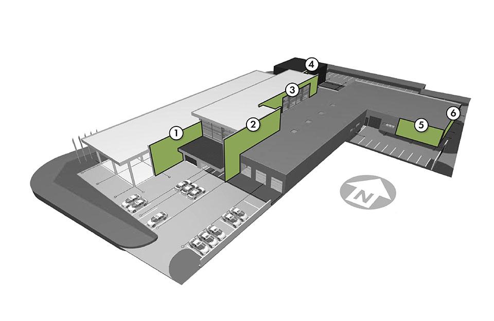 Шоурум и автосервиз на BMW и MINI - Схема на зелени стени