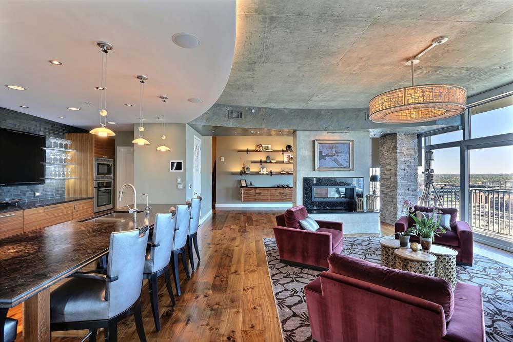 accent swivel chairs x rocker pedestal video gaming chair penthouse lounge & bar area - interior designer denver co