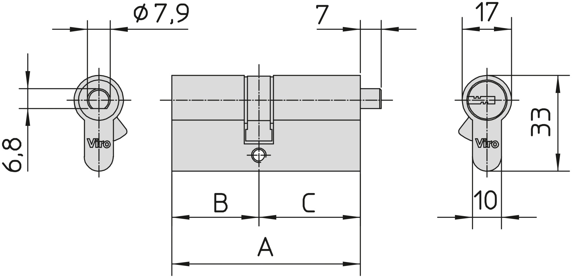hight resolution of nuovi euro pro series cylinders with fitting for thumb turn or thumb turn extension