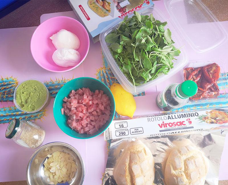 panino di mare con tartare di tonno burrata avocado pomodori secchi rucola preparazione ricetta ingredienti virosac magazine cosa serve