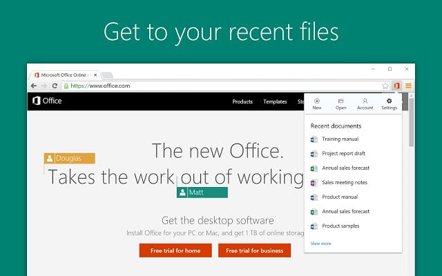 Browser Extensions from microsoft office
