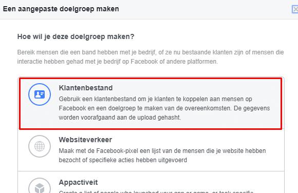 klantenbestand in facebook advertenties