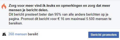 Facebook bericht promoten