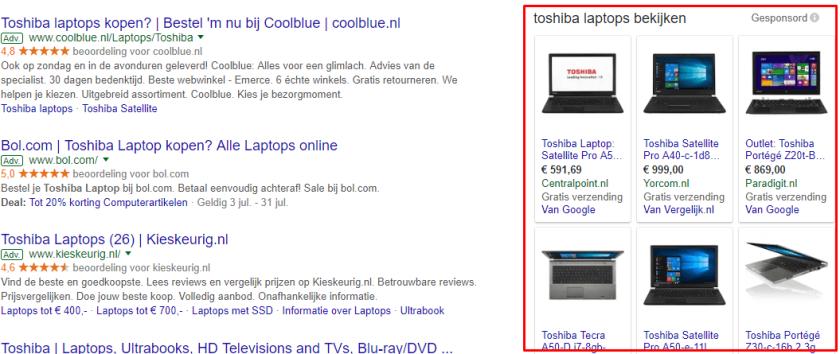 Google Shopping advertenties uitbesteden laptop