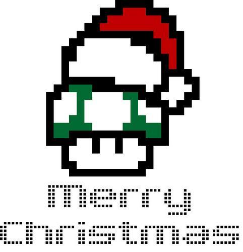8 bit christmas mario mushroom