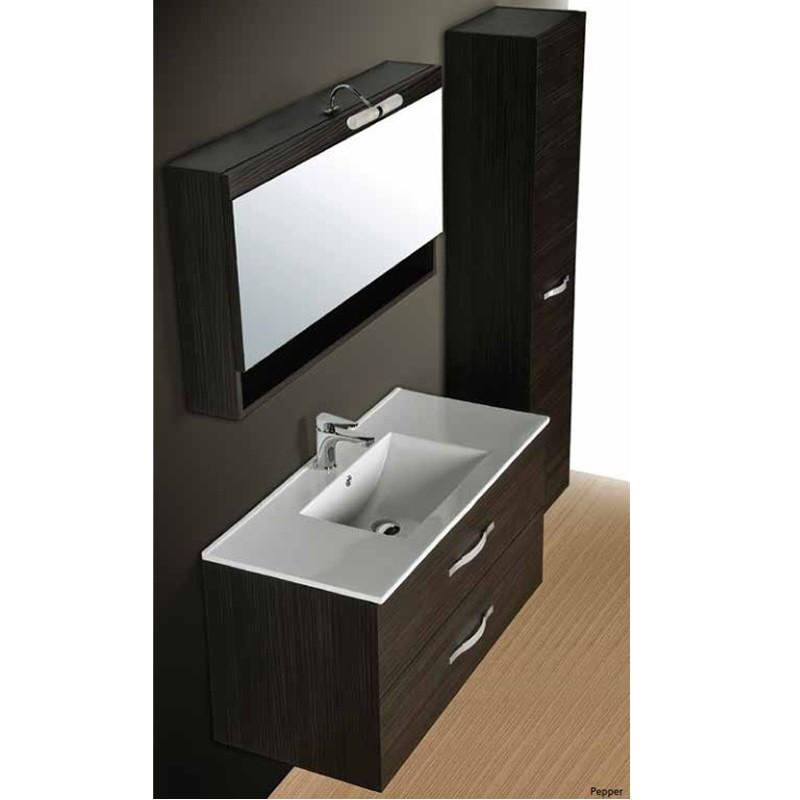 Composizione per bagno con cassetti lavabo e specchio