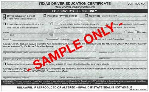Texas Driver Education Certificate DE-964 - Parent Taught Course