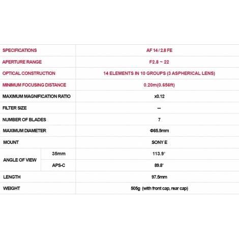 Samyang AF 14mm F2.8 Autofocus for Sony FE Full Frame E