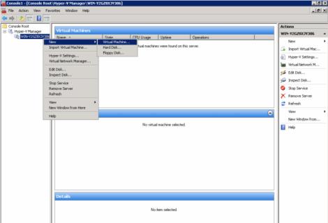 Microsoft windows 2008 hyper-v manager create virtual machine
