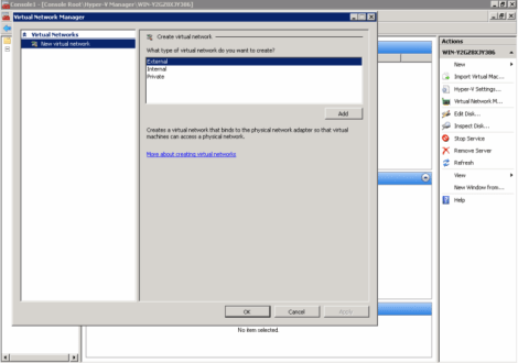 windows 2008 hyper-v manager virtual network type