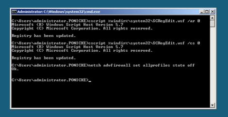 MS Windows 2008 servercore shuting down firewall