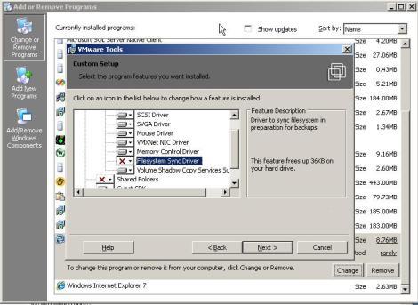 remove VMware tools sync driver