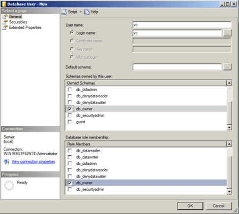 Assign the vCenter DB user proper permissions