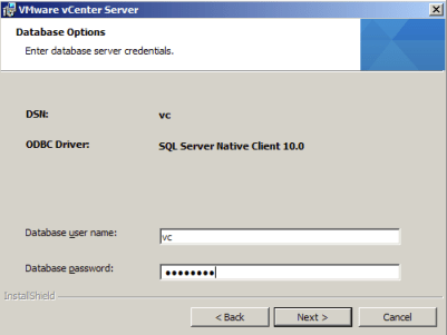 Complete your vCenter Database Credentials