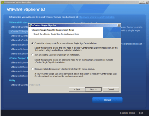 Create the primary node for a new vCenter Single Sign On installation